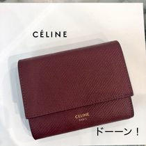 CELINE Tri Fold Calfskin Plain Bold Folding Wallets