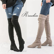 Casual Style Plain Block Heels Over-the-Knee Boots