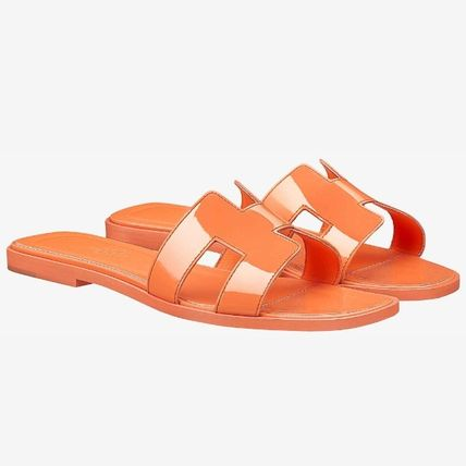 53c829b863b ... HERMES More Sandals Open Toe Blended Fabrics Plain Leather Block Heels  ...