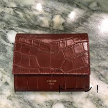 CELINE Tri Fold Calfskin Plain Other Animal Patterns Bold Folding Wallets