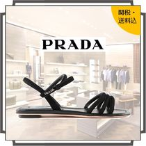PRADA Open Toe Casual Style Suede Blended Fabrics Plain Sandals