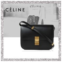 CELINE Classic Plain Leather Shoulder Bags