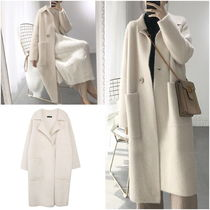Stand Collar Coats Wool Plain Long Midi Oversized