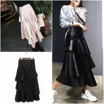 Flared Skirts Casual Style Faux Fur Street Style Plain Long