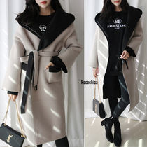 Casual Style Bi-color Plain Long Oversized Wrap Coats
