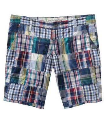 Short Other Plaid Patterns Casual Style Cotton