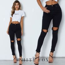 WHITE FOX Casual Style Collaboration Plain Long Skinny Pants