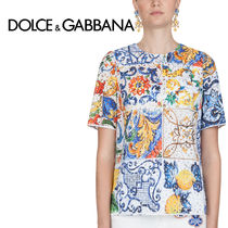 Dolce & Gabbana Crew Neck Tropical Patterns Casual Style Cotton