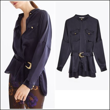 Midnight Blue Silk Blouse Oversize