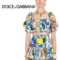 Dolce & Gabbana Tropical Patterns Casual Style Puffed Sleeves