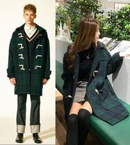 SPAO Gingham Casual Style Unisex Plain Long Duffle Coats