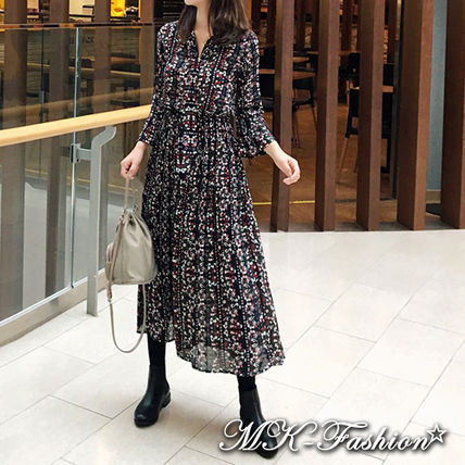 2019 Cruise Flower Patterns Casual Style Chiffon Flared Long Sleeves ... 42179e4d7