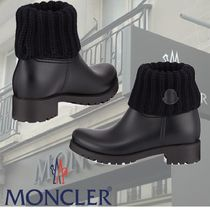 MONCLER Round Toe Casual Style Blended Fabrics Plain Chunky Heels
