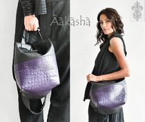 Aakasha 2WAY Bi-color Leather Handmade Python Shoulder Bags