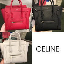CELINE Luggage Plain Leather Elegant Style Handbags