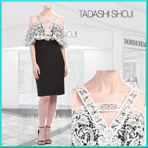 TADASHI SHOJI Flower Patterns Tight Medium Party Style Dresses