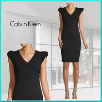 Calvin Klein Tight Sleeveless V-Neck Plain Medium Party Style Dresses