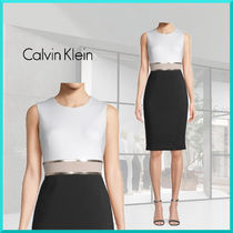 Calvin Klein Tight Sleeveless U-Neck Plain Medium Elegant Style Dresses
