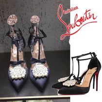 Christian Louboutin Plain Pin Heels With Jewels Elegant Style Heeled Sandals