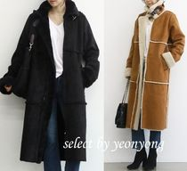 Faux Fur Plain Long Fur Leather Jackets Cashmere & Fur Coats