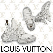 Louis Vuitton Round Toe Rubber Sole Casual Style Street Style Bi-color
