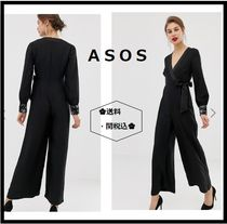 ASOS Dungarees Casual Style V-Neck Long Sleeves Plain Dresses
