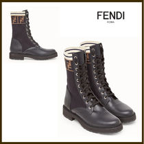 FENDI Round Toe Rubber Sole Leather Ankle & Booties Boots