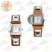 HERMES Blended Fabrics Studded Square Quartz Watches Analog Watches