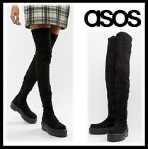 ASOS Platform Round Toe Casual Style Suede Blended Fabrics