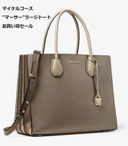 Michael Kors MERCER Casual Style A4 2WAY Plain Leather Totes