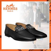 HERMES Loafers Sheepskin Blended Fabrics Plain U Tips