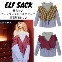 ELF SACK Tartan Casual Style Street Style Super-long Sleeves