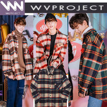 WV PROJECT Button-down Tartan Unisex Studded Long Sleeves Shirts