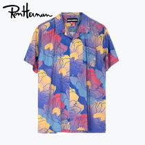 Ron Herman Flower Patterns Casual Style Unisex Cotton Short Sleeves
