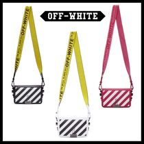 Off-White BINDER CLIP Stripes Saffiano Street Style 2WAY Shoulder Bags