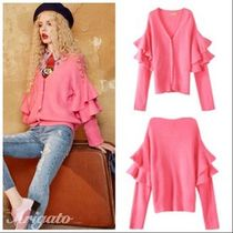 ELF SACK Casual Style Medium Puff Sleeves Cardigans