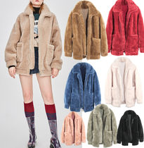 Unisex Fur Blended Fabrics Plain Medium Fur Leather Jackets