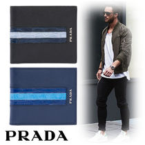 PRADA Street Style Leather Folding Wallets