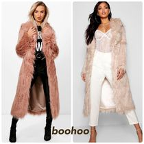 boohoo Faux Fur Plain Long Cashmere & Fur Coats