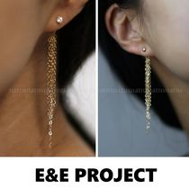 E and E PROJECT Costume Jewelry Tassel Studded Chain Silver 14K Gold