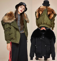 Fur Blended Fabrics Street Style Bi-color Plain Medium Khaki