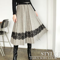 Pleated Skirts Medium Midi Office Style Midi Skirts