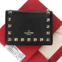 VALENTINO Unisex Calfskin Plain Handmade With Jewels Folding Wallets