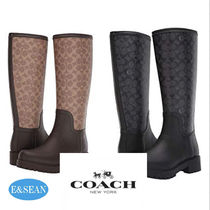 Coach Other Check Patterns Street Style Block Heels Mid Heel Boots