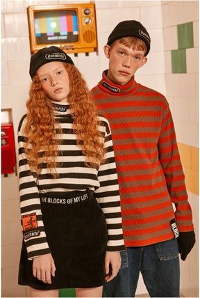 Stripes Unisex Street Style Long Sleeves Cotton