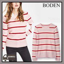 Boden Crew Neck Stripes Casual Style Cashmere Long Sleeves
