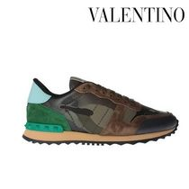 VALENTINO Camouflage Plain Toe Unisex Studded Street Style Leather