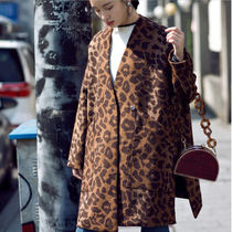 Leopard Patterns Wool Long Oversized Elegant Style Khaki