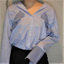 Stripes Casual Style Cotton Medium MIlitary Shirts Oversized
