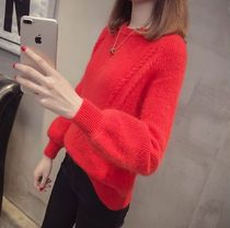 Crew Neck Cable Knit Rib Long Sleeves Medium Elegant Style